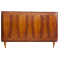 Mahogany Buffet with Four Front Doors, Interior Shelves and Trays, circa 1940s