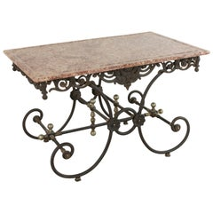 20th Century French Iron Pastry Table with Marble Top and Brass Detailing