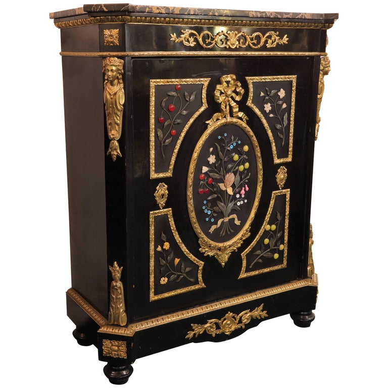 French Bronze-Mounted Ebonized and Pietra Dura Marble-Top Cabinet For Sale