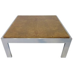 Milo Baughman Style Olive Burl and Chrome Coffee Table