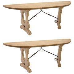 Italian Style Solid Painted Pine Console Tables with Iron Stretcher