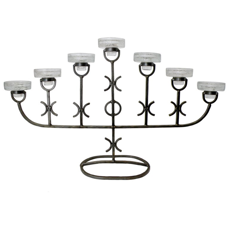 Erik Hoglund for Boda Nova Crystal and Iron Seven-Light Candelabrum