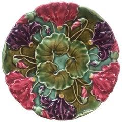 Majolica Flowers Plate Schultz Cilli, circa 1900