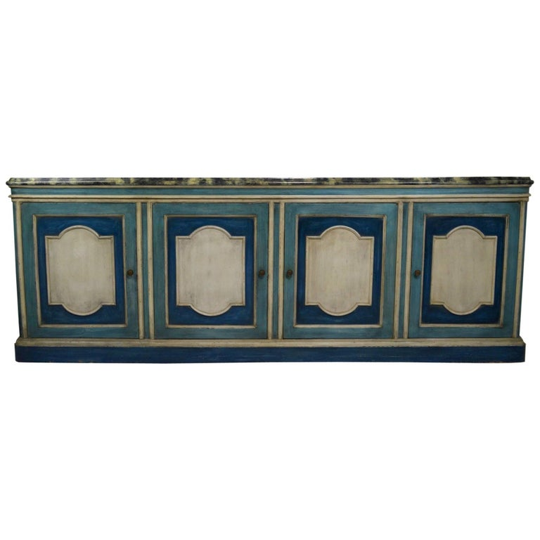 Hollywood Regency Server Credenza with Faux Marble Top