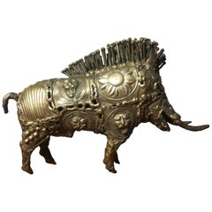 Brutalist Wild Boar Bronze Sculpture by Pal Kepenyes, 20th Century