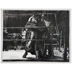 Robert Riggs Original Stone Lithograph, 1932, Boxing Scene