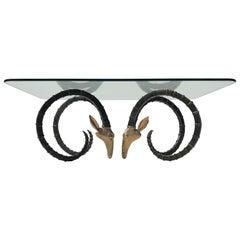 Brass Ibex or Ram Head Coffee Table