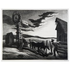 Thomas Hart Benton Original Stone Lithograph, 1941 - Nebraska 'Arkansas' Evening