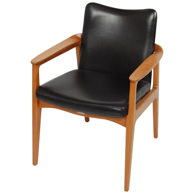 France & Sons Teak & Leather Armchair by Count Sigvard Bernadotte Danish Modern For Sale