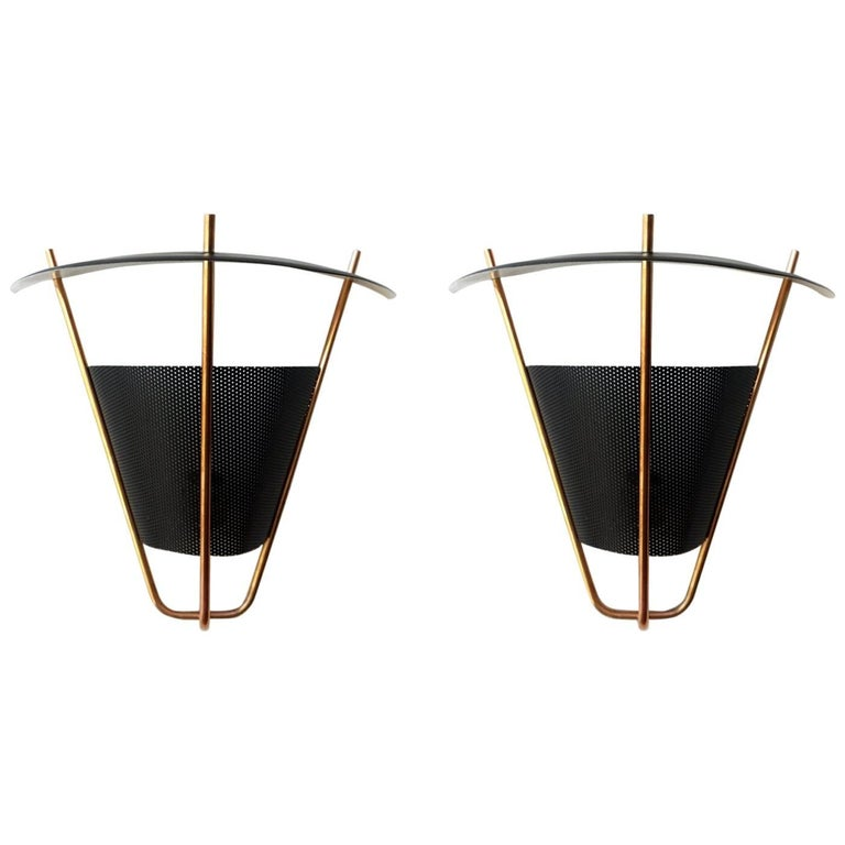 1950s Perforated Metal and Brass Wall Sconces by Lightolier For Sale