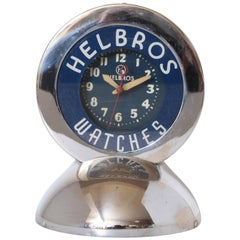 Machine Age Art Deco Chrome and Neon Helbros Advertising Clock by Glo Dial