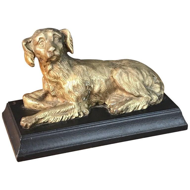 Regency Style Bronze Figure of a Recumbent Dog