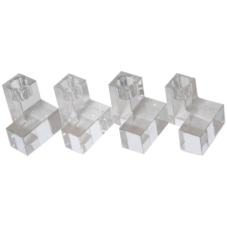Art Deco Baccarat Crystal Pristine Table Architecture Cubist Candlestick Holders For Sale