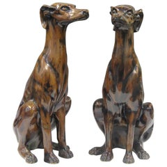 Antique French Dog Statues Pair Painted Plaster, Early 20th Century