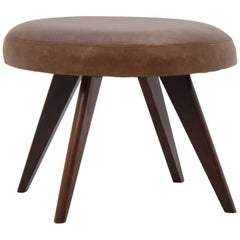 Midcentury Danish Leather Stool