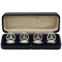 1932 Antique Sterling Silver Royal Artillery Menu Holders