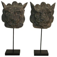 Couple of 19th Century, French Zinc Lion Head Fragments