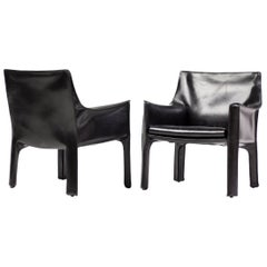 Pair of Cassina Cab Lounge Chairs by Mario Bellini