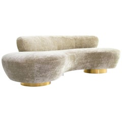 Curved Sofa on Brass Bases by Vladimir Kagan