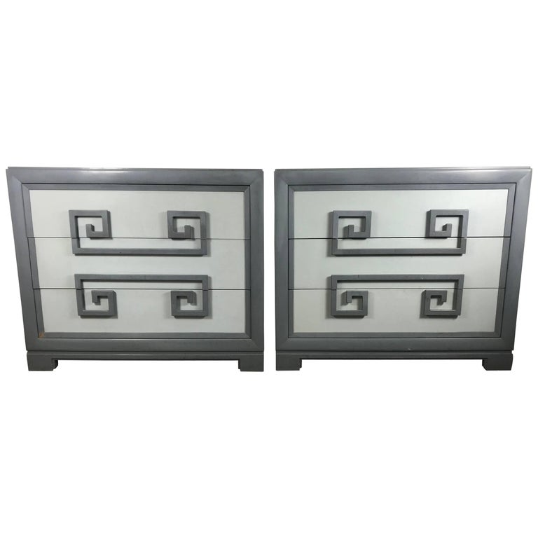 Match Pair of, 1940s Greek Key Lacquered Chests by Kittinger