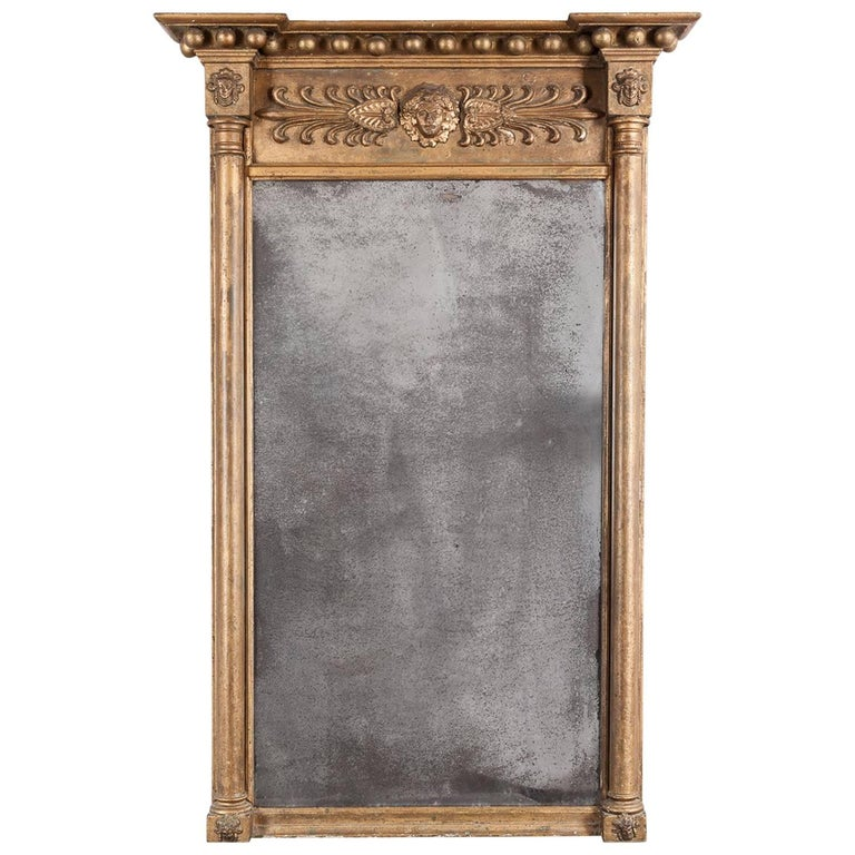 Regency Gilt Pier Mirror, with Original Plate