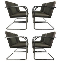 Set of Eight Chrome Brno Chairs by Mies Van Der Rohe for Thonet