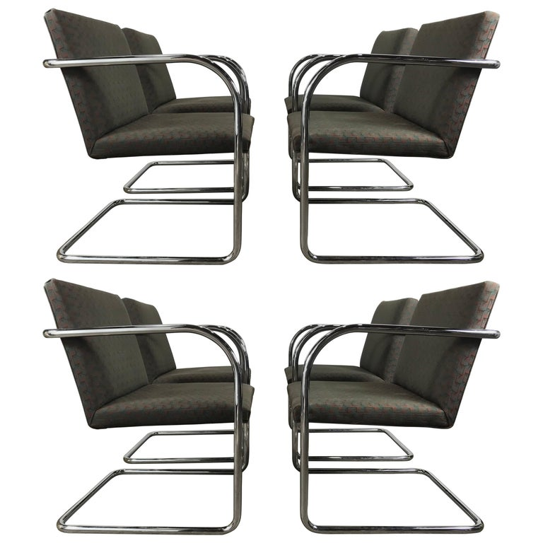 Set of Eight Chrome Brno Chairs by Mies Van Der Rohe for Thonet For Sale