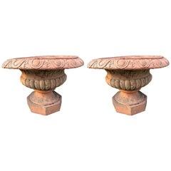 Stately Pair of Vintage Terra Cotta Garden Urns