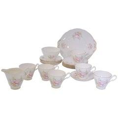 Vintage Royal Stuart Pink Peonies with Brushed Gold Trim Bone China Tea Service
