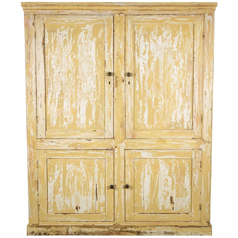 19th Century Pine Pantry Kitchen Cupboards with Distressed Paint