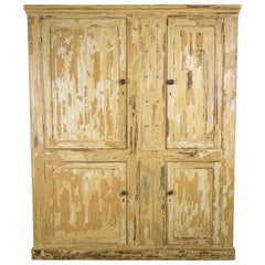 19th Century Pine Pantry Cupboard with Distressed Paint and Key Hooks