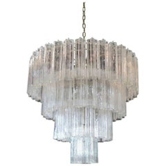 Huge Vintage Murano Glass Tiered Chandelier, 78 Glasses