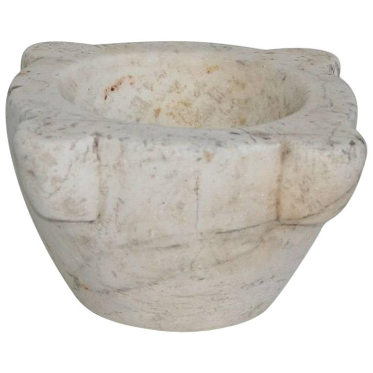 18th Century French White Marble Mortar
