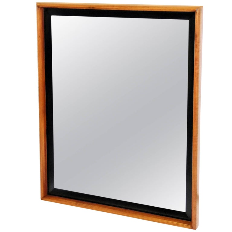 Paul Frankl Modern Mirror for Johnson Furniture, Blond Cherry and Black Lacquer. For Sale