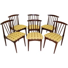 Six 1950s Danish Modern Style Walnut Spindle Back Dining Chairs