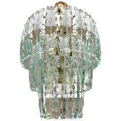 Fontana Arte chandelier Murano Crystal Gilt Frame, 1970