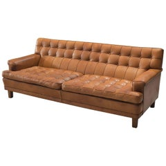 Arne Norell Sofa 'Merkur' Cognac Leather and Wood Sweden, circa 1964