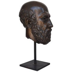 20th Century Bronze Busts Portraying Classical Philosopher Socrates