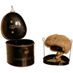 English Barrister's Bench Wig in Original Tole Box with Riser by Ravenscroft Law