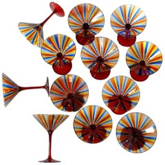 12 Martini Glass, Cenedese a Canne, Cadmium Red Stem, Signed, circa 1960