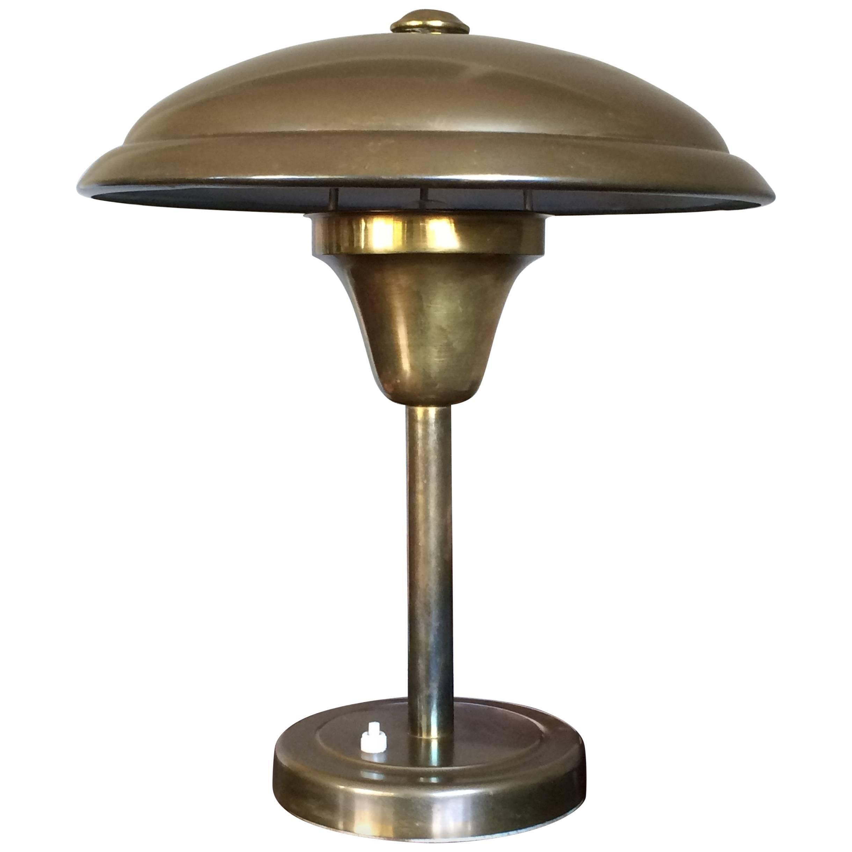 Art Deco Bauhaus Style Table or Desk Lamp, Copper Metal Dish Design Lamp Shade