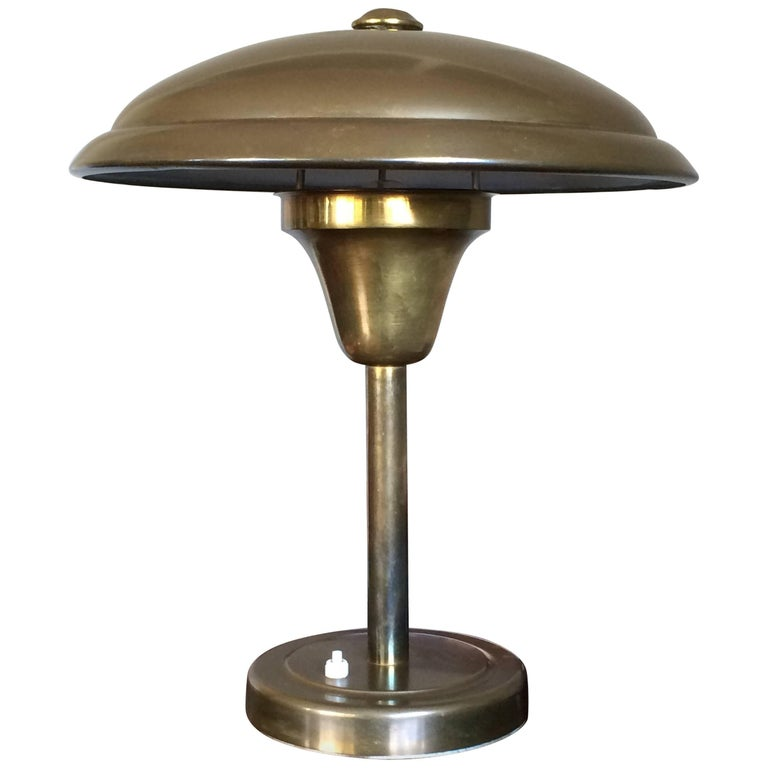 Art Deco Bauhaus Style Table Or Desk Lamp Copper Metal Dish Design Shade For