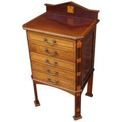 Striking Arts and Crafts Mahogany Filing Cabinet Inlaid with Stylized Flowers