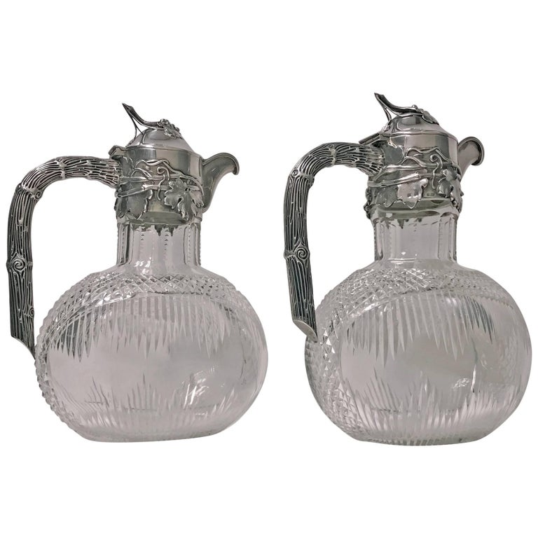 Pair Art Nouveau Silver and Glass Claret Jugs, Germany, circa 1900