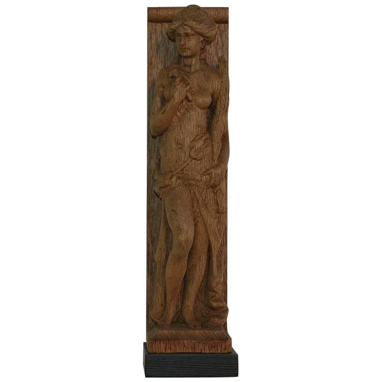 19th Century, French Carved Wooden Female Figure