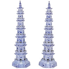 Pair of Chinese Blue and White Porcelain Pagodas