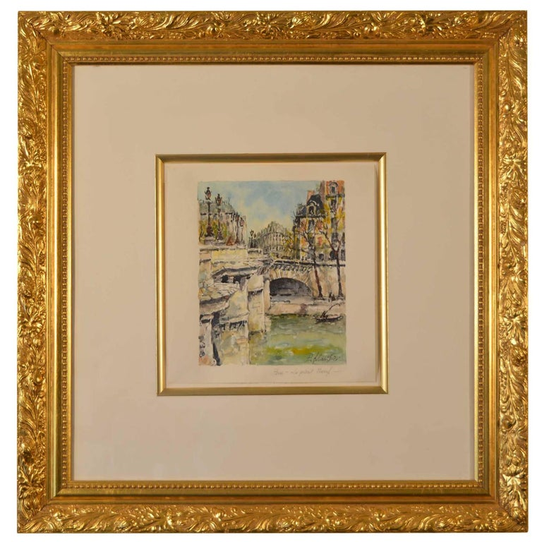 Framed Watercolor Paris Lepont Neuf Signed Pierre Cambier
