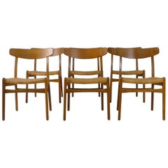 Hans Wegner for Carl Hansen, Denmark Set of Six Dining Chairs Model CH-23