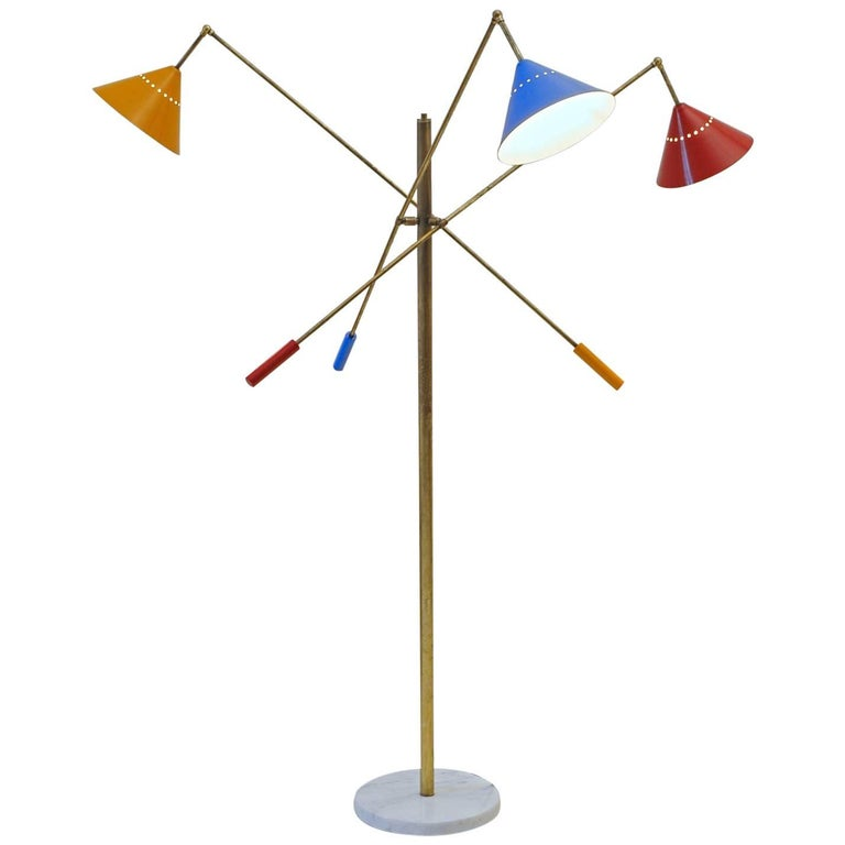 Patinated Brass Floor Lamp, Pivotting Three-Arm 'Triennale' Arredoluce Style RGB