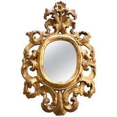 19th Century Italian Gilt Wood Oval Mirror with Mercury Glass from Como Lake
